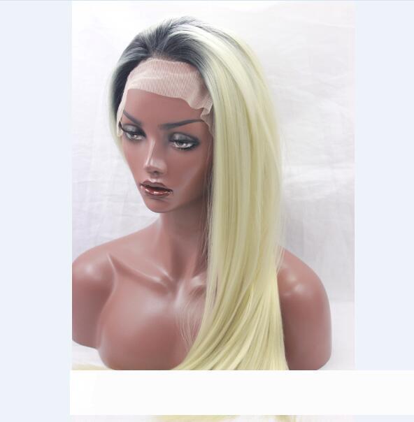 Sentetik dantel ön peruk ısı zenci Amerikalılar serbest kısmı bebek saç tarağı ve stra için dayanıklı sarışın 613 # saç peruk pelucas