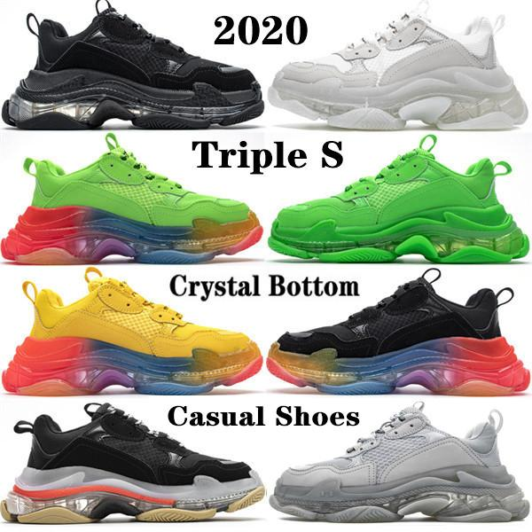 2020 Top Quality Explosão Homens Laser de cristal inferior Paris 17W Triple S Womens Shoes Casual Dad Vintage Platform Trainers sapatilha Designer Shoes