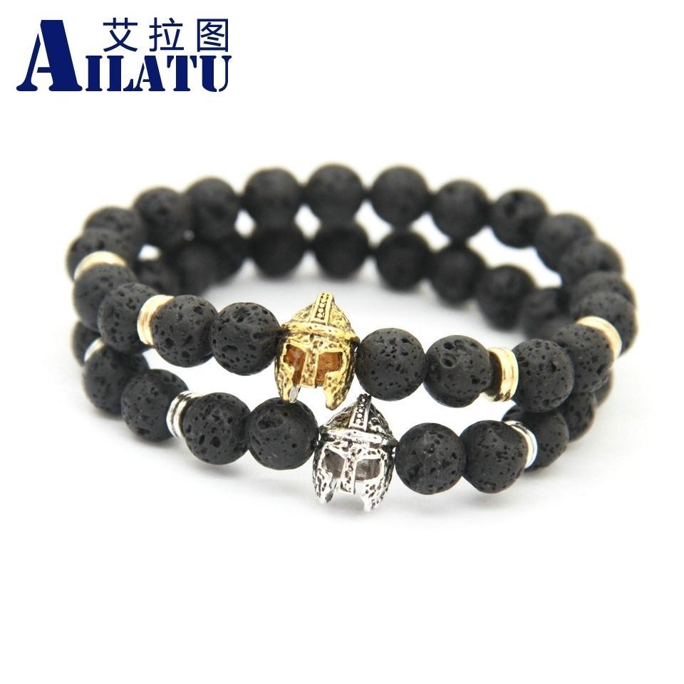 Ailatu Fashion Spartan Warrior Helmet Bracelet with Energy Lava Stone Beads Men Bracelet