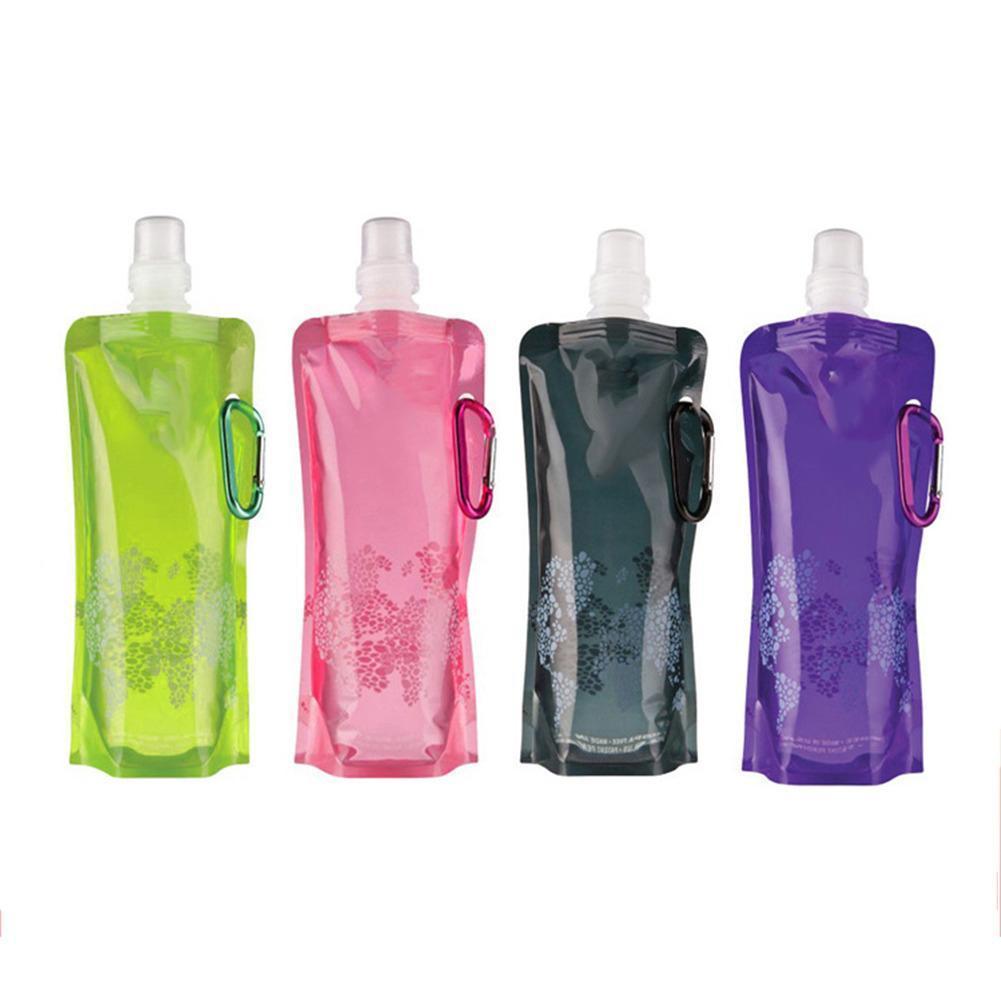 최신 0.5 L 휴대용 접는 자전거 물병 Foldable 물 주전자 실리카 젤 야외 스포츠 자전거 타기 물병