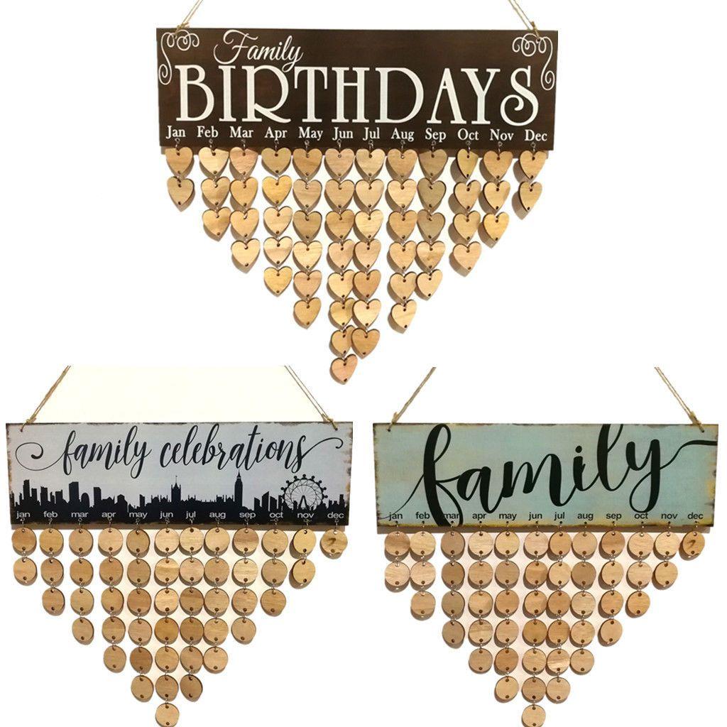 Mais recente chegadas faroot 2018 Wooden aniversário lembrete Conselho Plaque Sinal de suspensão dos amigos da família Calendário