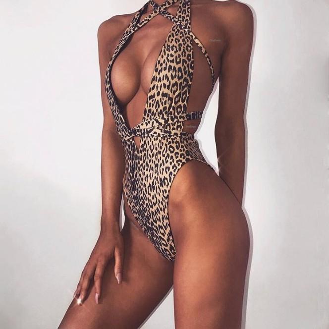 Bikini Set Verde Leopard Sexy Bikini Swimwear Mulheres Swimsuit brasileira Imprimir Top Praia vestem fatos de banho