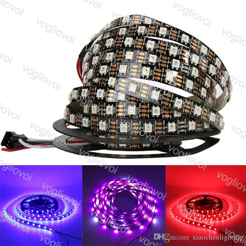 LED 스트립 빛 DC5V 개별적으로 주소 WS2812B LED 스트립 빛 화이트 / 블랙 PCB 30/60 픽셀 RGB 2812 주도 테이프 리본 방수 DHL