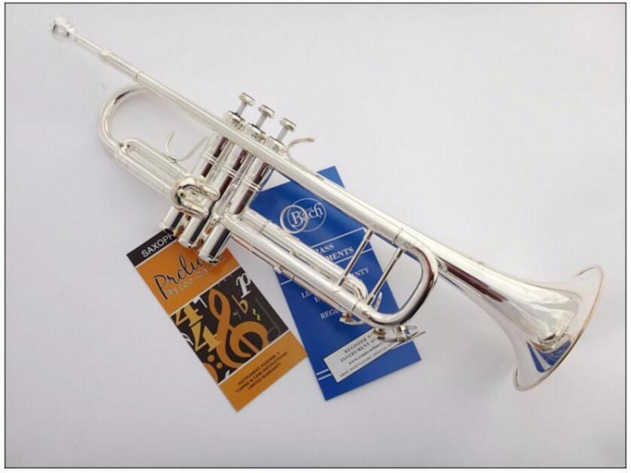 Free Shipping New Bach LT 180S-43 Brass Silver Plated Bb Trumpet High Quality Musical Instrument Trumpet with Case Accessories Free Shipping