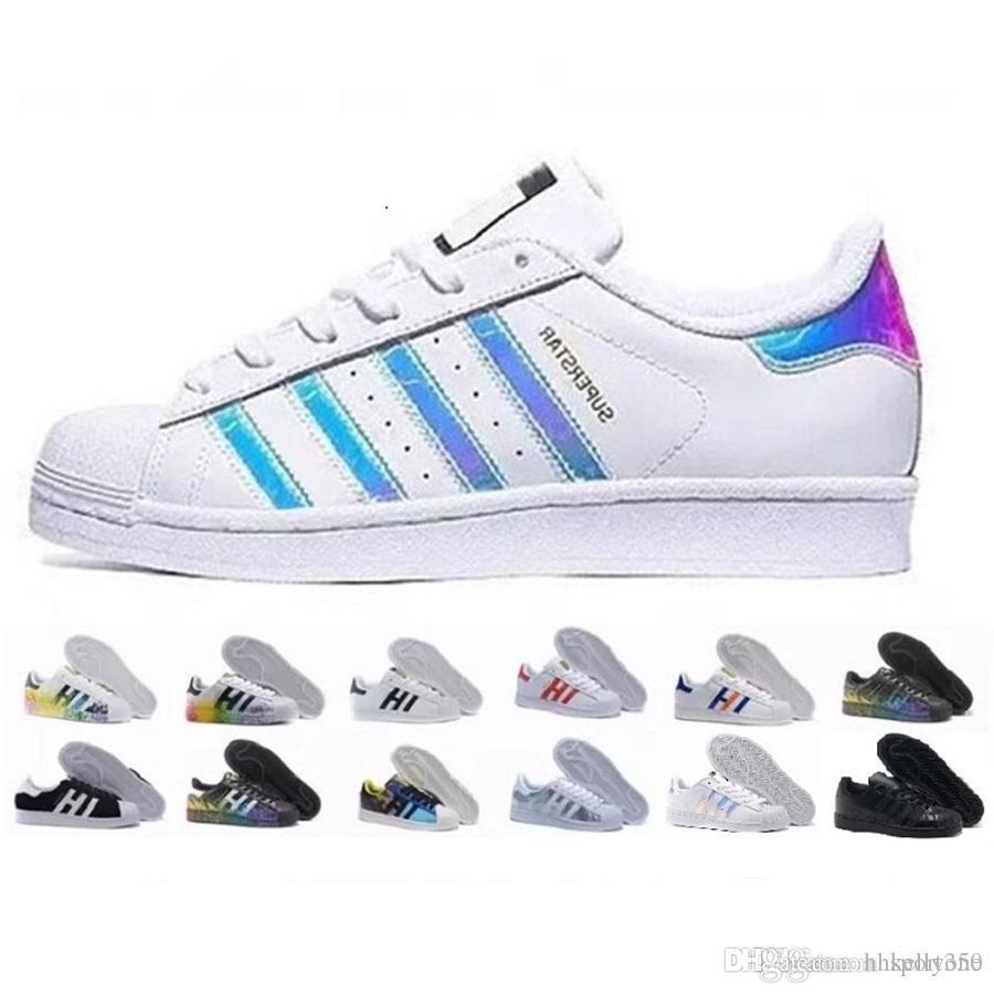 2018 Casual Originals Superstar White Hologram Iridescent Junior Superstars 80s Pride Sneakers Super Star Women Men Sport Casual Shoes a2586