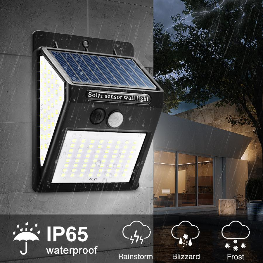 Solar Lamps 144 LED Outdoor Solar Wall Lamp PIR Motion Sensor Waterproof Light Garden Path Emergency Security Light 3 Sided Luminous