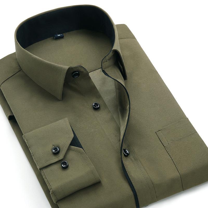 Aoliwen 2020 Men's Classic Shirts Black bars long sleeve dress shirt pocket Solid color Wild men Business cassual shirt slim fit