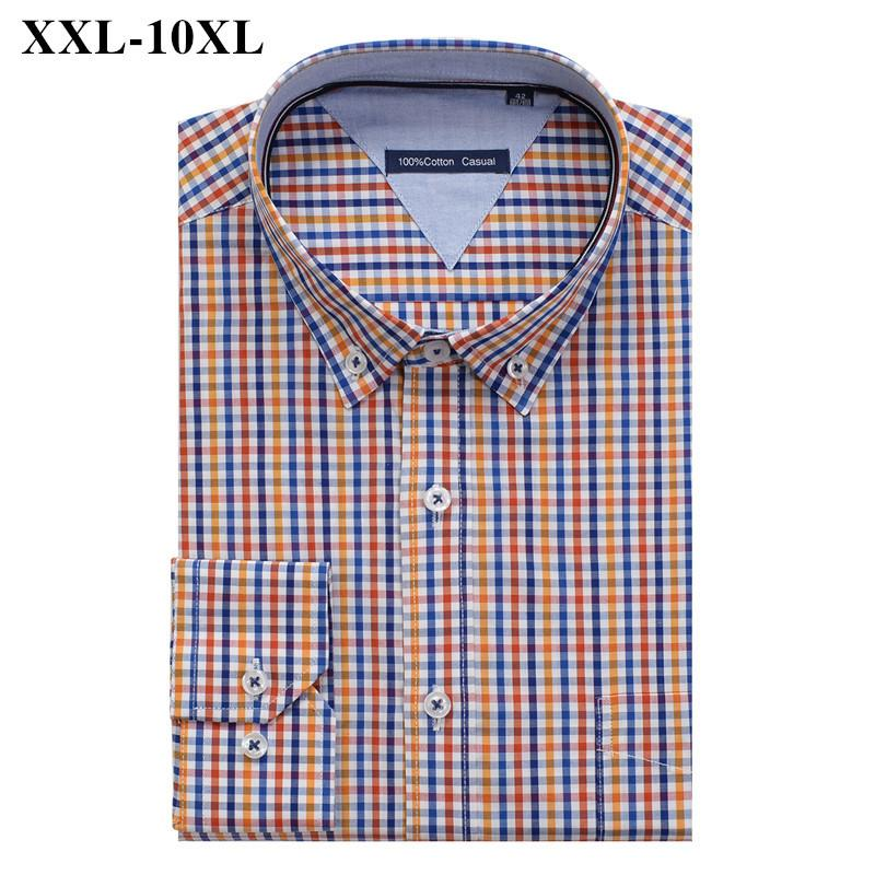 Brand Clothes 100% Cotton Plaid Shirt Men Big Size 10XL 9XL 8XL 7XL 6XL 5XL Business Casual Loose Long Sleeve Shirts Male
