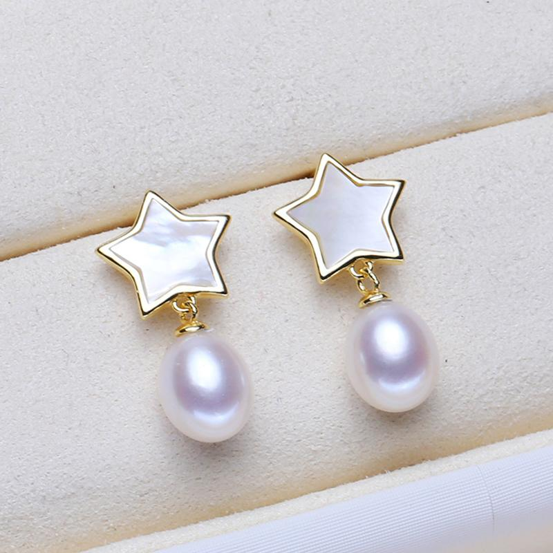 ASHIQI Authentic 925 sterling silver Natural Shell star earring Freshwater Pearl Earrings Women Gift Drop shipping