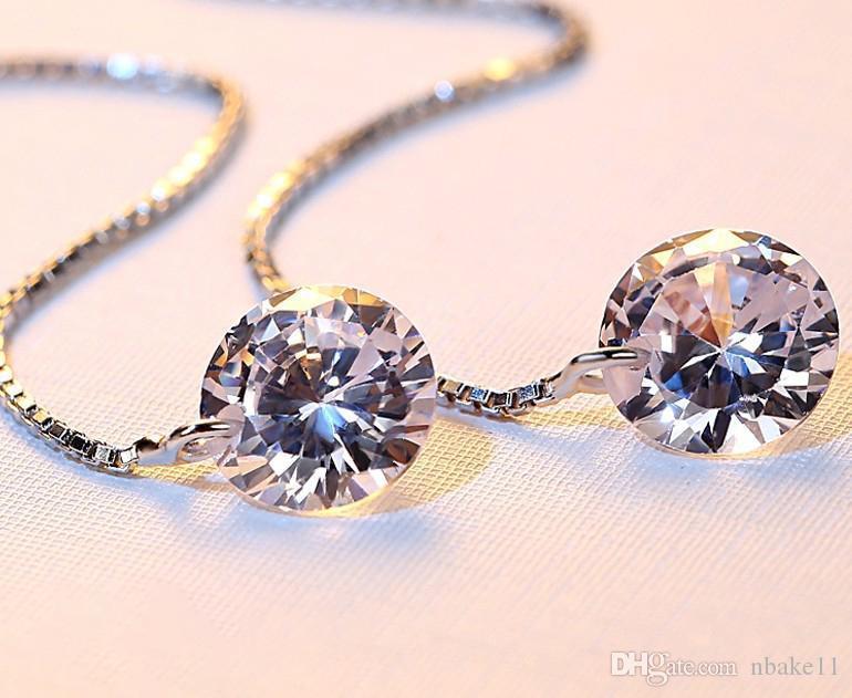 Bonito Feminino de cristal brincos Linha de borla brincos prata esterlina 925 Boho jóia do casamento longo Dangle Brincos