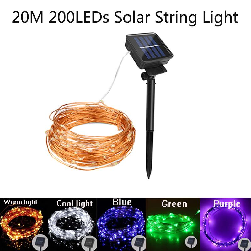 Led String Lights Solar Powered Copper Wire Fairy Lights 200 LEDs Waterproof 8 Modes Decorative Lighting for Garden Patio Christmas