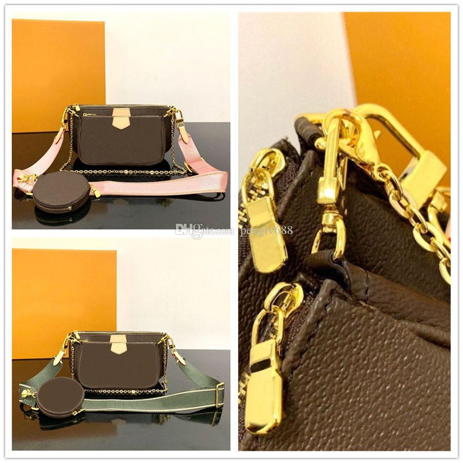Venta 3 piezas conjunto diseñadores mujeres de los bolsos de Crossbody del cuero genuino de los bolsos de lujo monederos diseñadores bolsas señora monedero tres ítems
