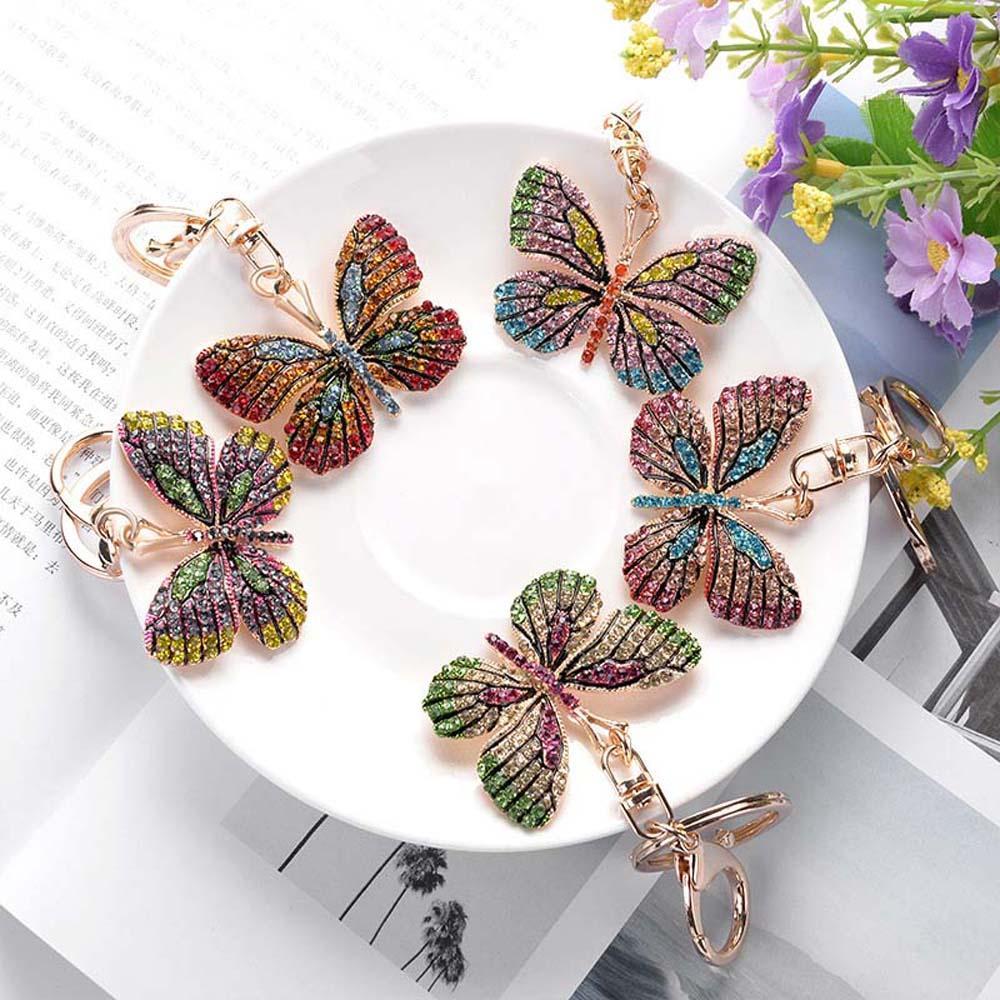 Cadena hermosa de la mariposa que brilla llavero completa Rhinestone de la aleación clave para las mujeres chica Accesorios para el coche del bolso del anillo dominante de la manera