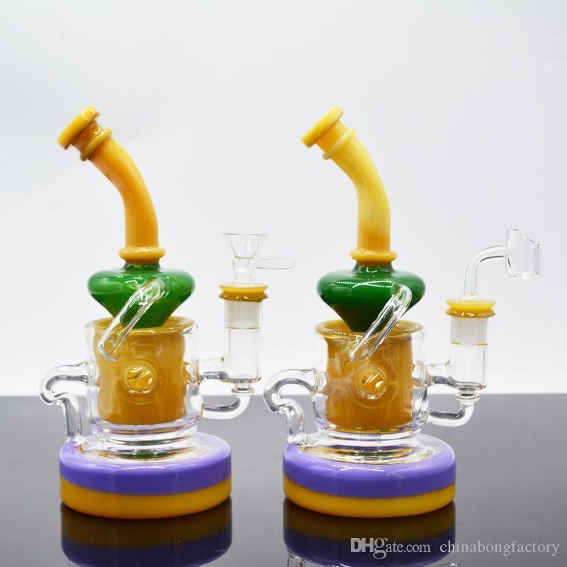 """9 """"dab rigs 머리가 좋은 유리 봉 클린 리사이클 더블베이스 컬러 유리 아트 워터 파이프 두꺼운 오일 리그 14mm 유리 그릇"""