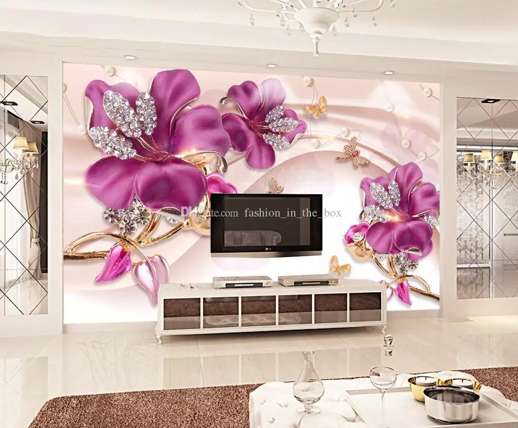 3D Embossed Flower Jewelry Pearls Wallpaper Silk Wall Murals Butterfly Crystal Diamonds Wall Art Bedroom Sofa TV Background Wall Desktop