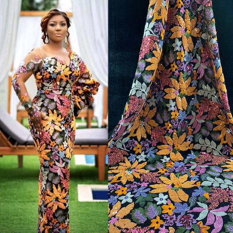 2019 Tecido de Renda Africano Laço de Tule Francês com FlorLeaf Estilo Designer Bordado Hot-fix Nigeriano vestido de Casamento para As Mulheres