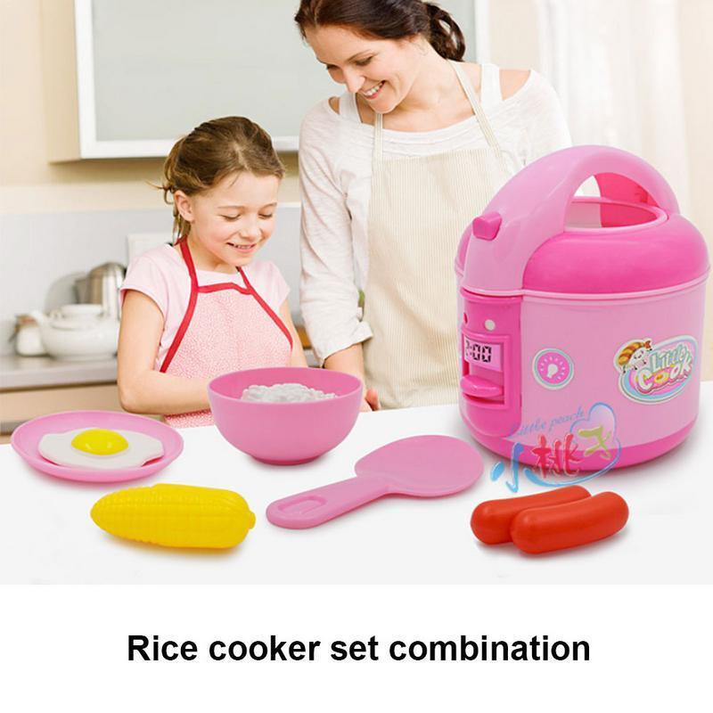 Cocinero de arroz elegante eléctrico al por mayor de la casa de la simulación del juguete de la casa de la cocina plástica elegante de la música para los niños