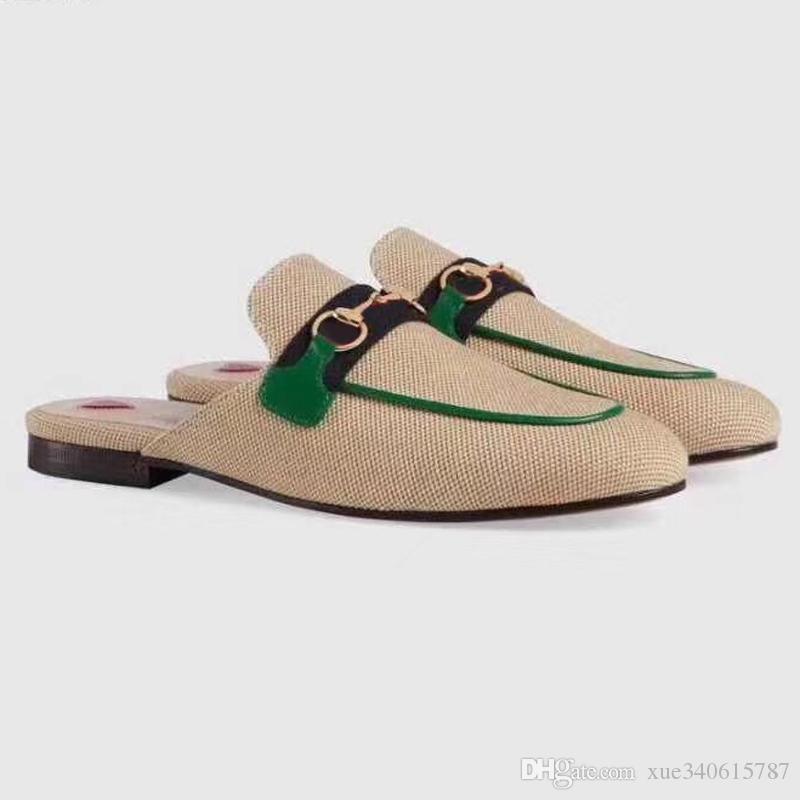 Дизайнер мулов Принстаун на плоской подошве повседневная обувь воловьей кожи металлическая пряжка Женская обувь из натуральной кожи женщины топчут ленивую обувь