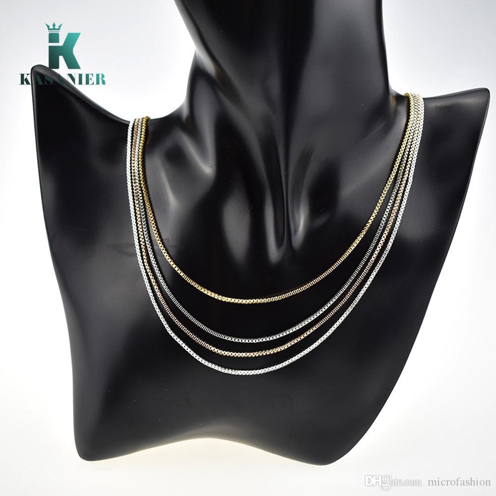 50 stücke großhandel 1.4mm silber / gold / rose gold ton frauen und männer box halskette kette für hochwertige modeschmuck