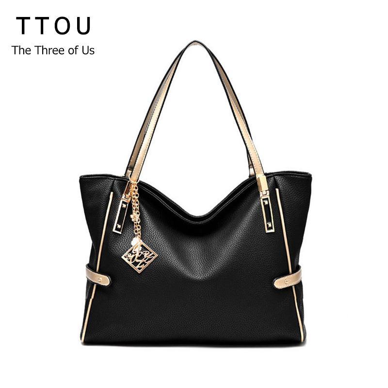 Ttou Women Tassel Casual Tote Elegant Ladies Handbag Pu Leather Shoulder Bag Large Capacity Hand Bag Commuter Bag Female Y190620
