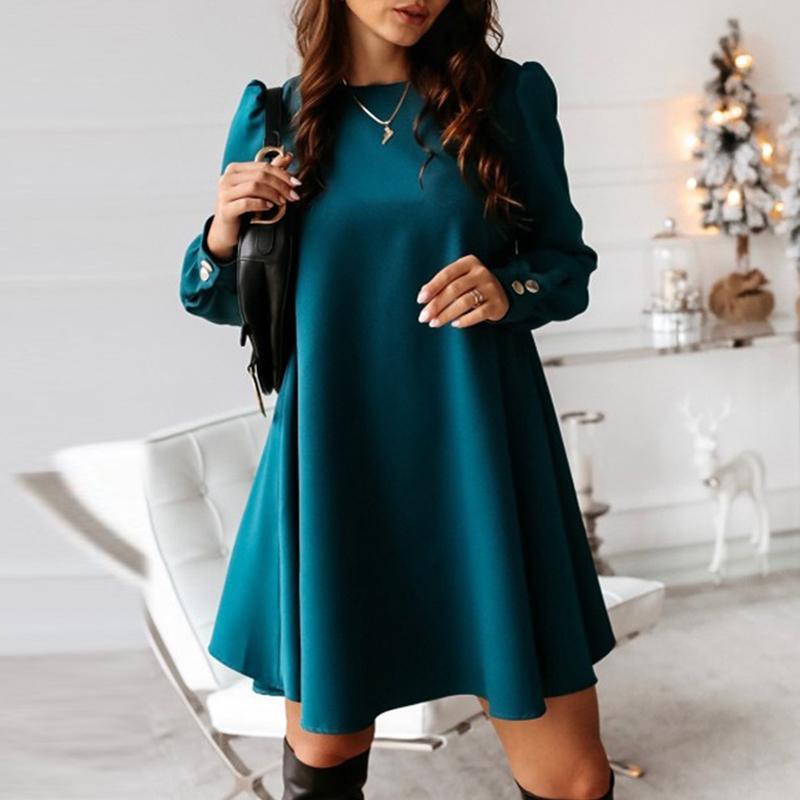 Donne eleganti metallo bottoni mini vestito casuale o collo Spring Party solido femminile di autunno manica lunga A-Line Abiti Vestidos MX200518