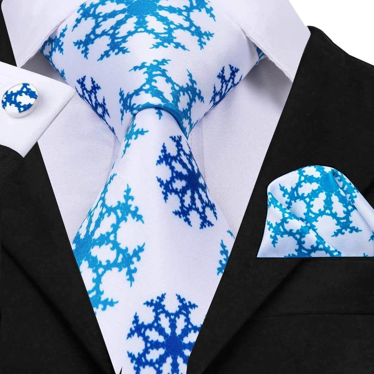 Green Black Blue Novelty Mens Tie Set Silk Necktie Hanky Cufflinks Wedding Party