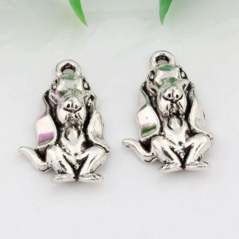 حار ! 150 قطع antiqued الفضة سبيكة الباسط كلب الصيد الكلب سحر قلادة diy مجوهرات صالح قلادة سوار 14.5x25.5mm