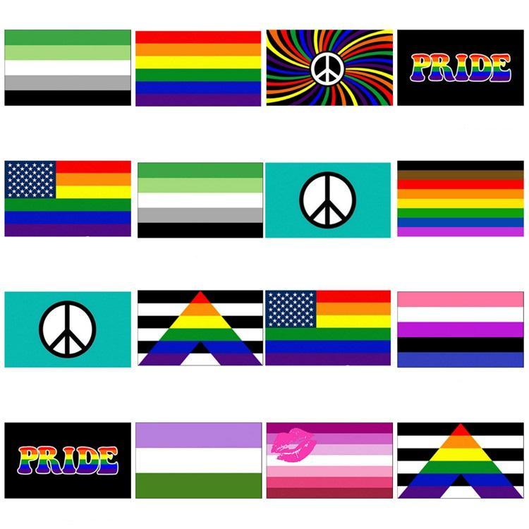 новый Радуга флаг 90x150cm Американский Gay и Гей-Полиэфир Баннер Флаг Полиэстер Красочные Радуга флаг для украшения T2I51060