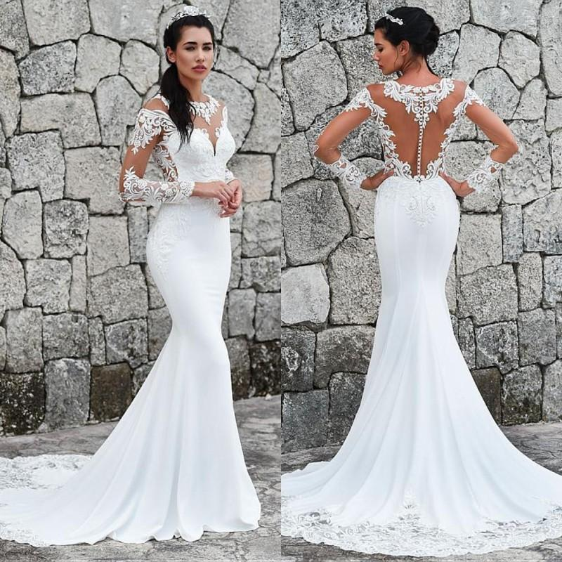 Luxury African Lace Mermaid Wedding Dress 2020 Sheer Neck Appliques Long Sleeves Bridal Gowns Plus Sizes Custom Made