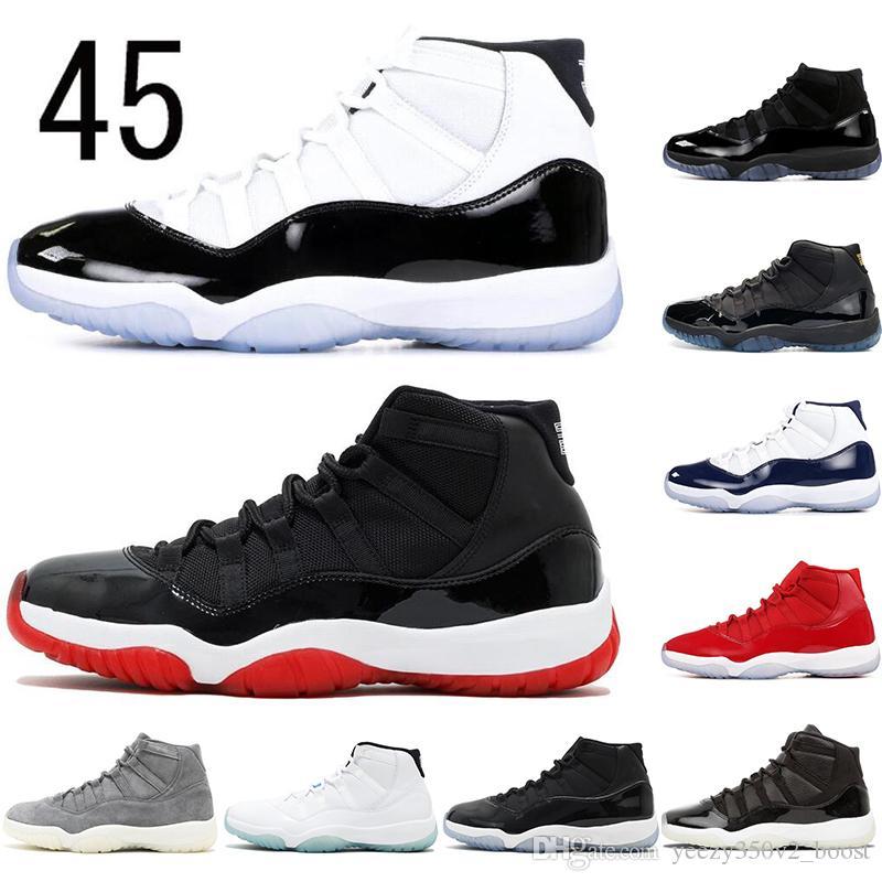 Nike AIR Jordan 11 Avec 11s chaussettes libres Platinum Tint CAP ET GOWN Hommes Chaussures de basket-ball 11 Blackout Stingray minuit Bred Espace Confitures sport Chaussures de