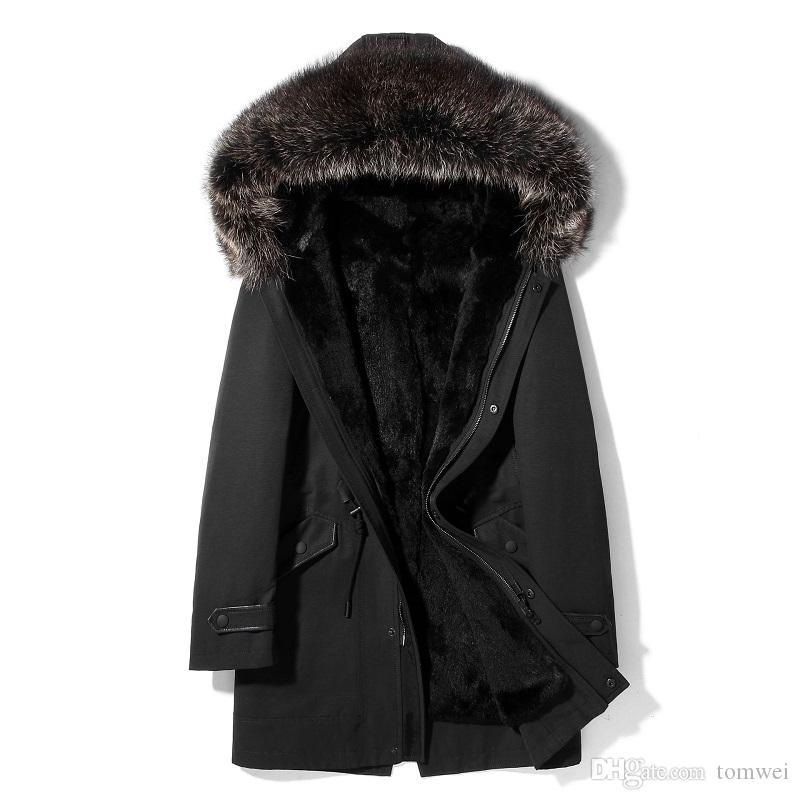Parka invernale Cappotti in pelliccia di coniglio Giacche in shearling da uomo Cappuccio Giacca a vento Capispalla Soprabito Spessore caldo Abbigliamento da neve L-4XL Verde militare