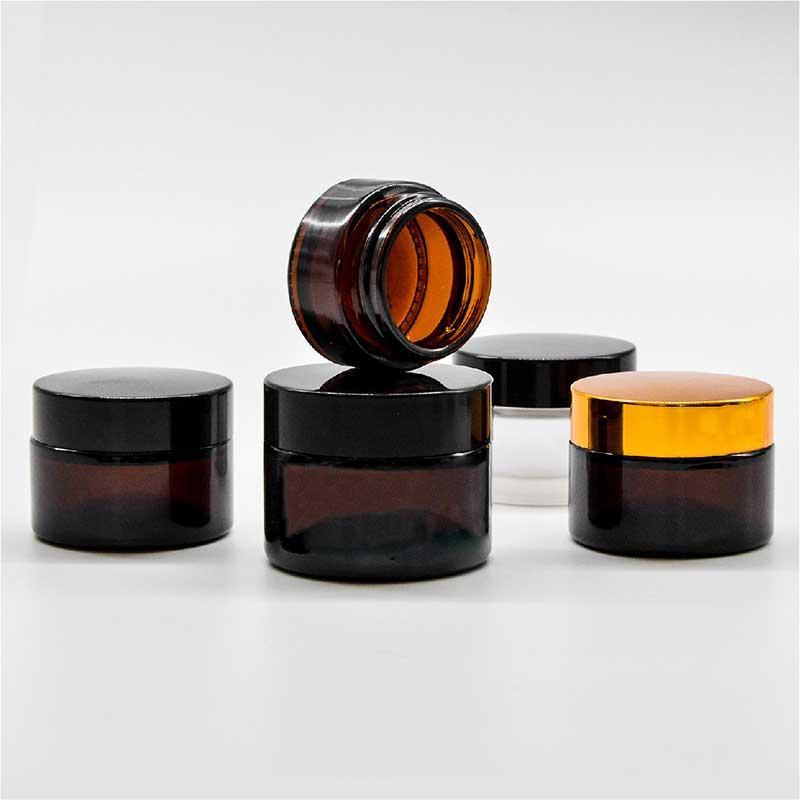5g 10g 15g 20g 30g 50g cosmetico vaso di vetro marrone con etichetta classico tappo a vite vuoto vaso concentrato LOGO stampabile