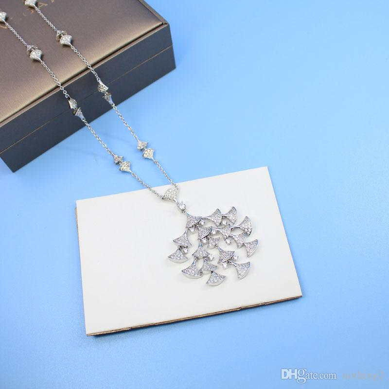 Women necklaces Fashion jewelry S925 sterling silver Plated Cubic Zircon White Gold Plated necklaces women Party Gift