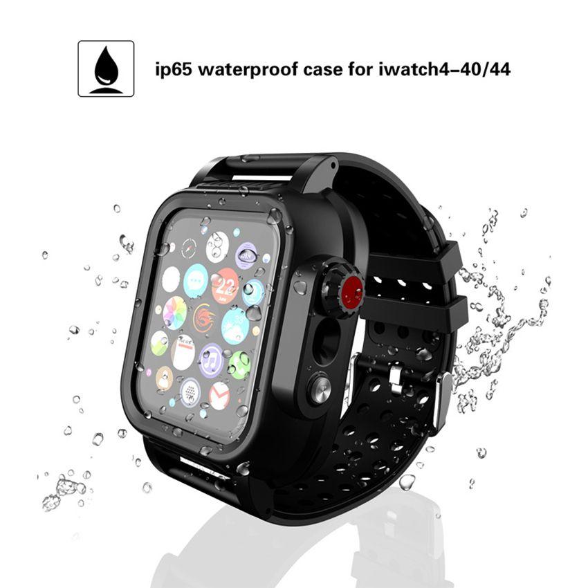 애플 시계 iWatch 시리즈 4 통기성 스트랩을위한 방수 케이스와 부드러운 실리콘 밴드 내장 화면 보호기 견고한 커버 시계 줄