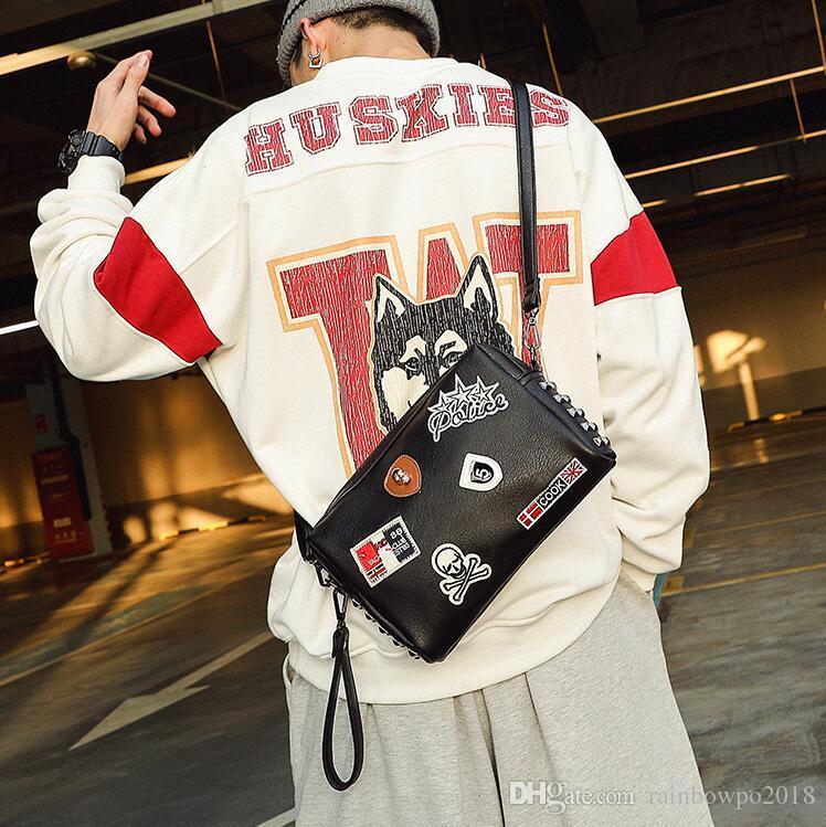 Factory wholesale men handbag street trend rivet men shoulder bag personality rivet punk Messenger bag multifunctional leather fashion bag