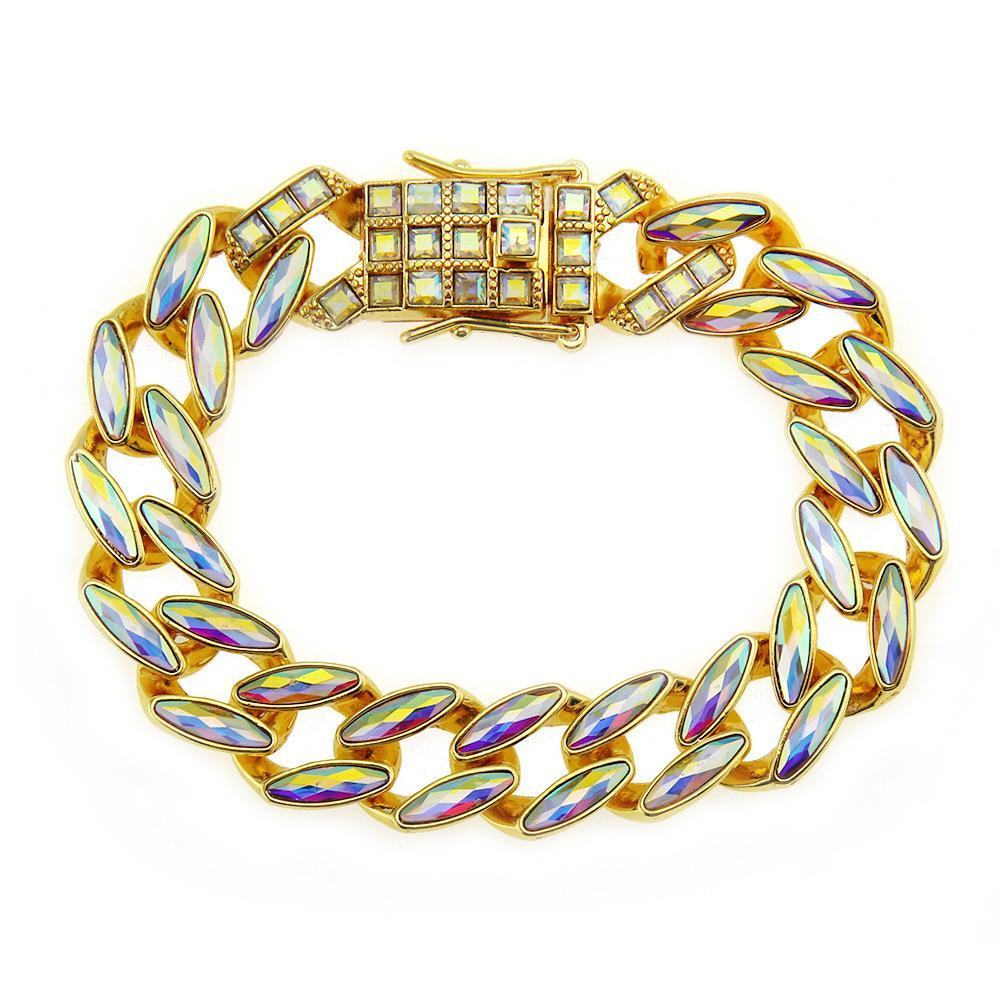 Hip Hop Hombre Accesorios Adornos Conjunto del taladro del color la forma de hoja Tide mano pulsera de cadena
