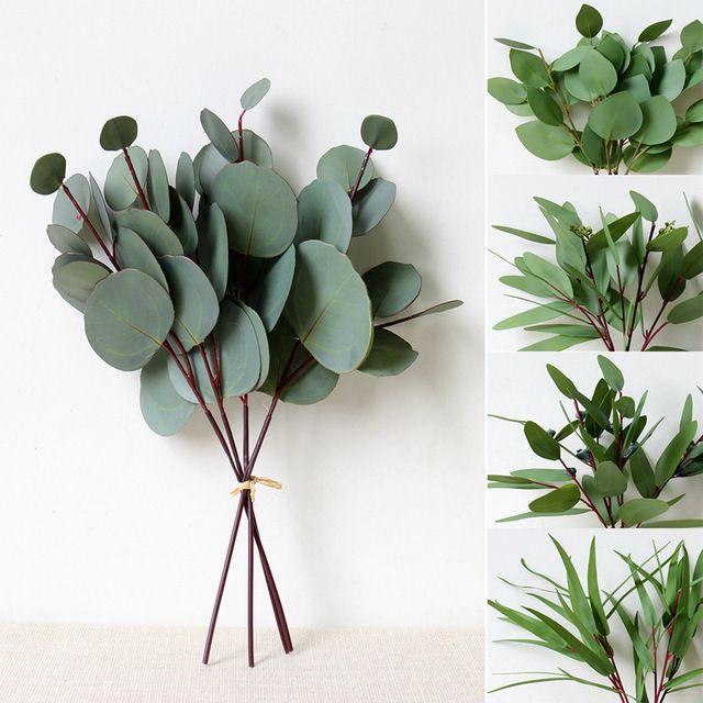Plante artificielle haut de gamme feuilles nordique ronde d'eucalyptus feuille quotidienne maison décoration artificielle faux fleurs mariage bouquet de mariage