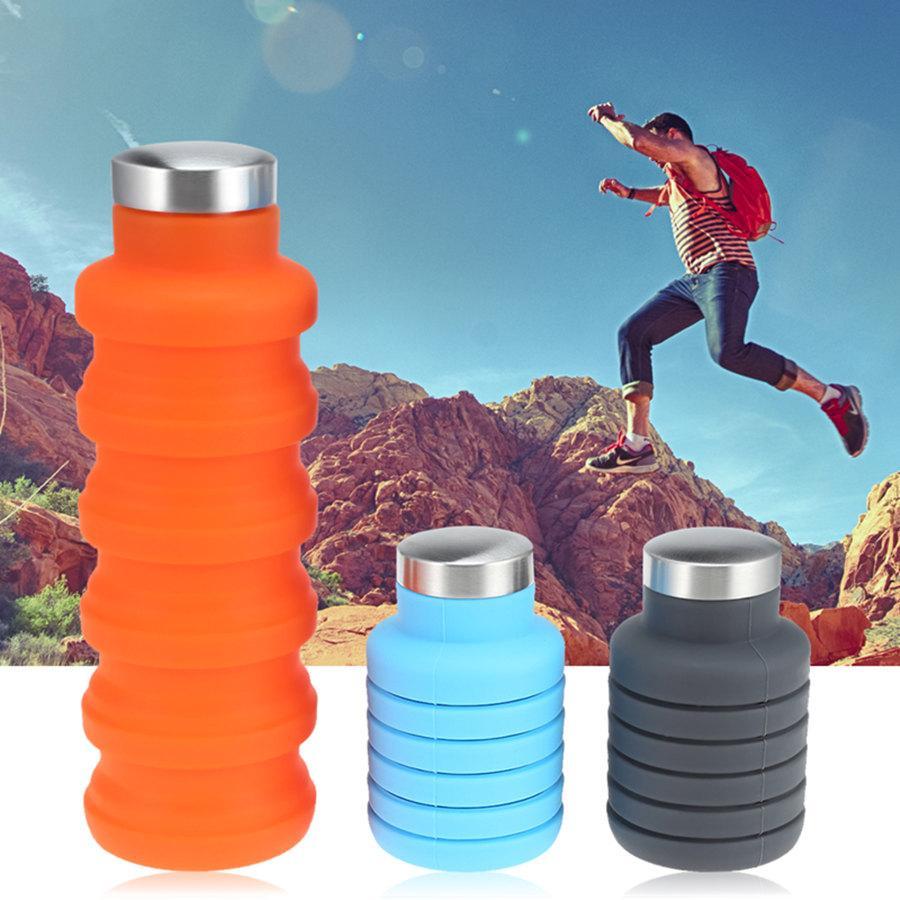 500ML Taşınabilir Silikon Su Şişesi Katlanabilir Katlanabilir Kahve Katlanır Sport Kettle Tercih Edilen İçki İçme Açık Travel Şişe