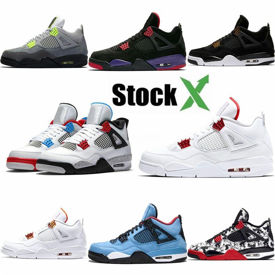 Hot 2020 New Bred Jumpman 4 4S Iv What The Cactus Asas Jack Laser Mens tênis de basquete Blue Jeans Eminem pálido Citron Homens Sports Sneakers # 2