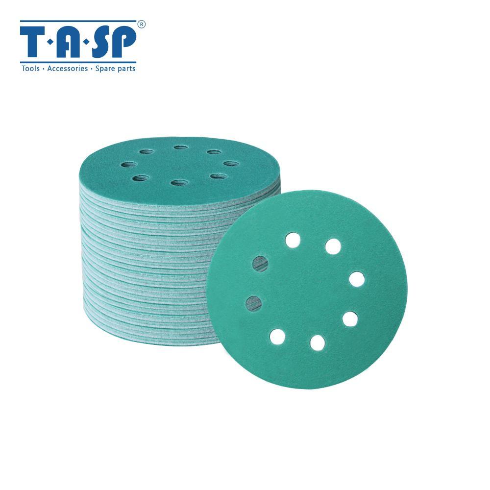 TASP 100pcs 125 milímetros Wet and Dry Lixa 5 '' Waterproof 8 Buraco Anti Clog lixar discos 60-400 Grit gancho laço Film Backing