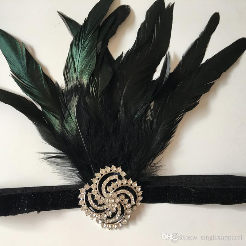 Black Feather & Silver Rhinestone Spiral Elastic Headband Luxury Crystal Beading Hairbands Hair Clips with Pearls for Bride Bridesmaid