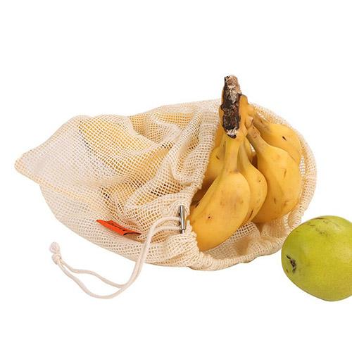 Reusable Cotton Mesh Storage Bags for Kitchen Vegetables Fruit Grocery Organizer Eco-friendly Washable Shopping Bag