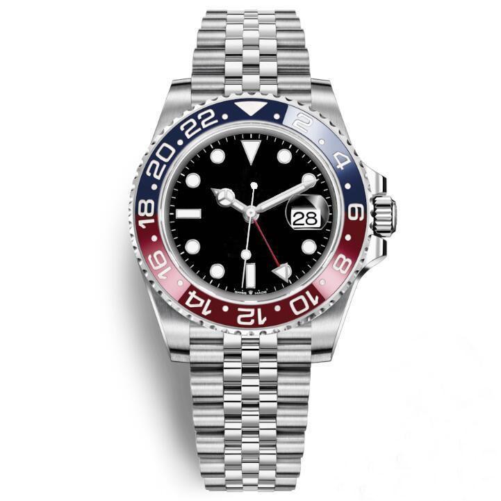 럭셔리 남성 시계 자동식 기계식 시계 GMT 세라믹 베젤 시계 실버 스테인레스 스틸 남성 여성용 Reloj 시계