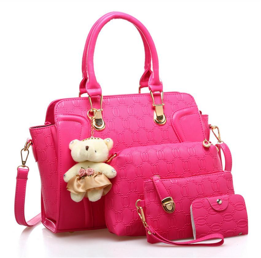 4 Piece Set Women Wholesale Fashion Handbag PU Leather Women Bag
