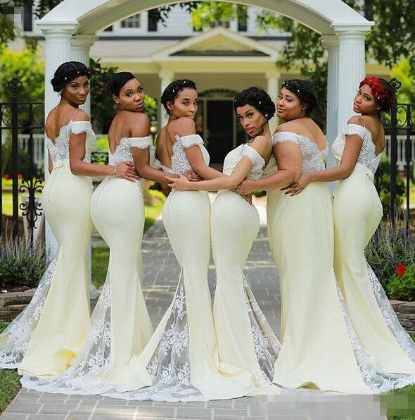 Acheter 2019 Sexy D Epaule Sirene Demoiselle D Honneur Robes Africaine Invite De Mariage Avec Pure Dentelle Applique Balayage Train Plus La Taille