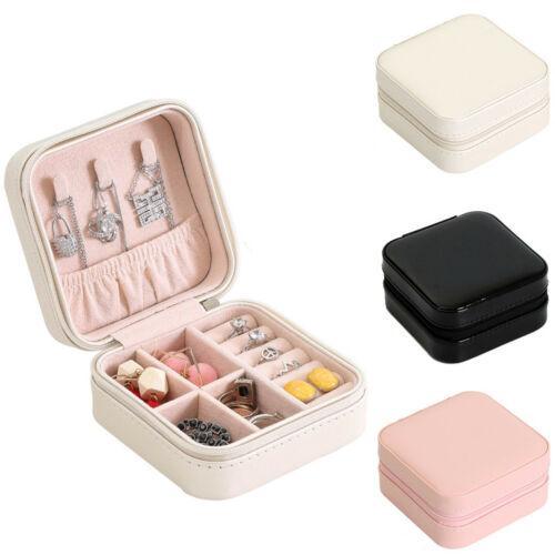 Viajes nuevas señoras de cuero de la PU cosmética reloj de la joyería de almacenamiento caja del anillo del collar de almacenamiento organizador del caso de exhibición