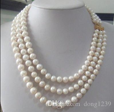 """Collier de perles blanches à 8 rangs de 8 à 9 mm avec collier de perles blanches de la Mer du Sud australienne 17-19 """""""