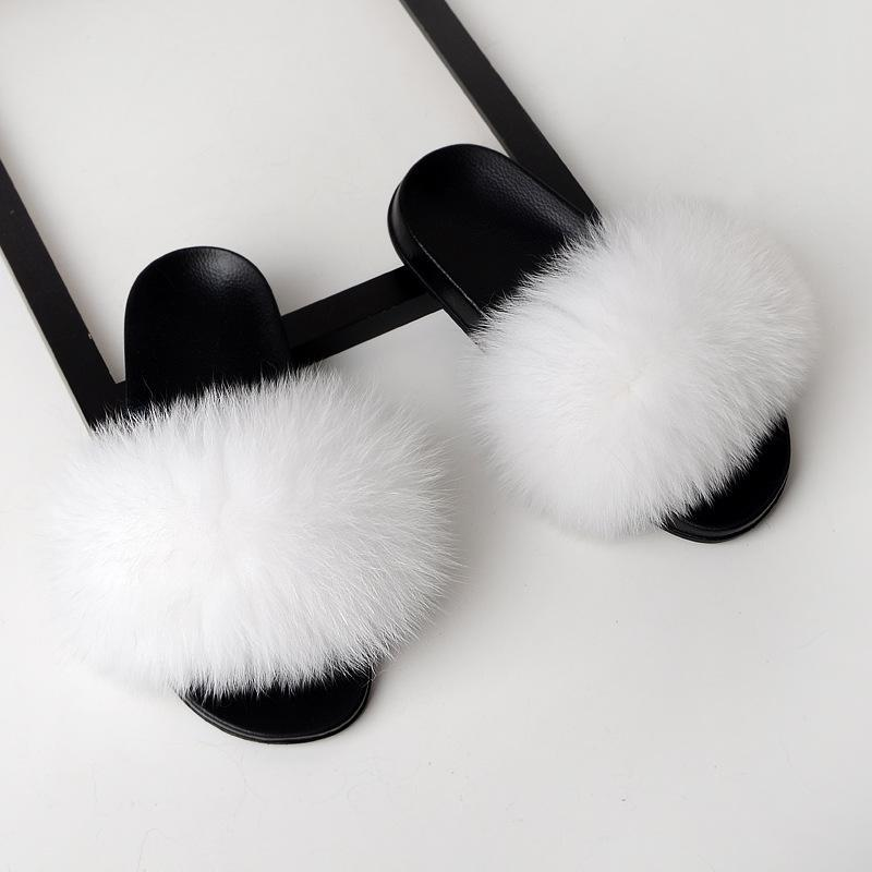 JIUY Hot Sale-Real Fox Fur Slippers Slides Schuhe Pelz Fuffly Slipper Flipflopsandelholze Sliders Drag Sandale Sommer-Schuh-Frauen