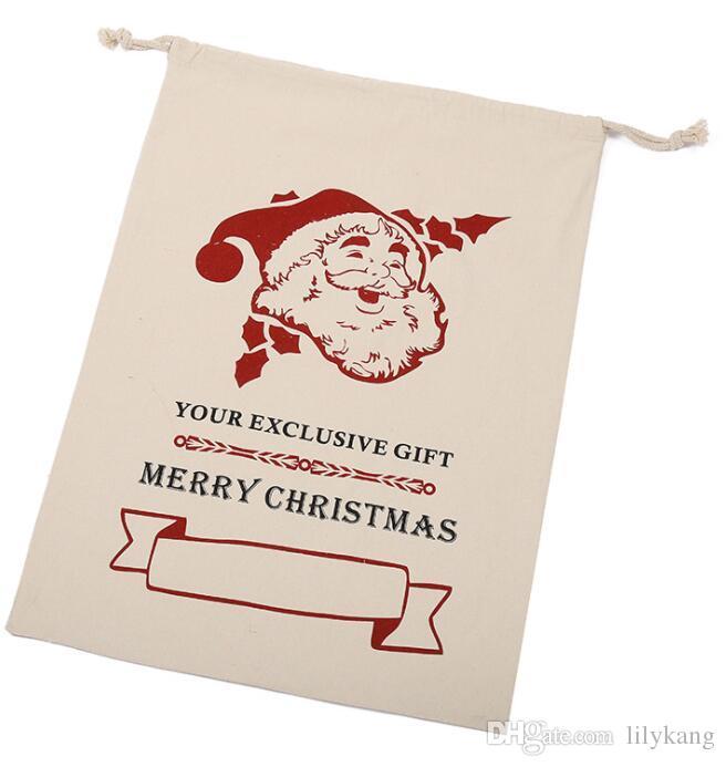 Presente de Natal de Santa Sacks Monogrammable Sacos de Santa Saco com cordão saco Papai Noel cervos algodão bolsa de armazenamento chriatms de alta capacidade embalagens