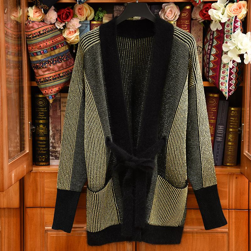 2019 Spring Luxury Striped Print Knitted V Neck Fashion Oversized Long Cardigan Women Long Sleeve Casual Wool Blend Sweaters 17151lZ07